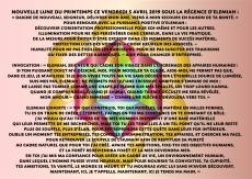 Invocation exhortation Nouvelle Lune 5 avril 2019